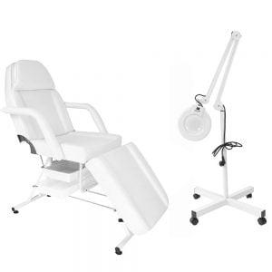 Fotel kosmetyczny z kuwetami + lampa lupa