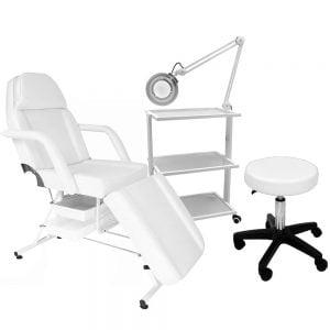 Zestaw Mebli - Fotel z kuwetami + lampa lupa + taboret