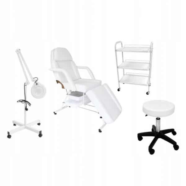 Fotel z kuwetami + stolik G Plus PCV + lampa lupa + taboret BASICG