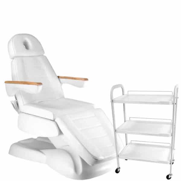 Fotel kosmetyczny elektryczny LUX 3 + stolik G Plus PCV