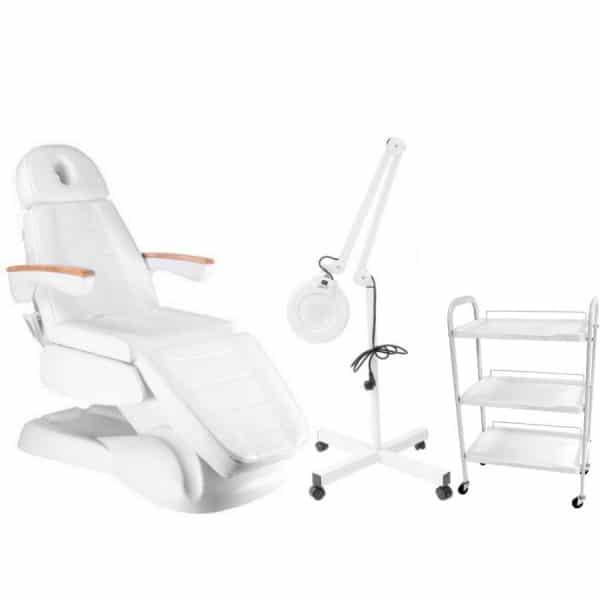 Fotel kosmetyczny elektryczny LUX 3 + lampa lupa + stolik