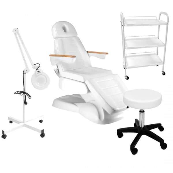 Fotel kosmetyczny elektryczny LUSSO 3 + lampa lupa + taboret + stolik kosmetyczny 1