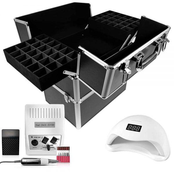 Zestaw z kuferkiem kosmetycznym, lampą uv oraz frezarką