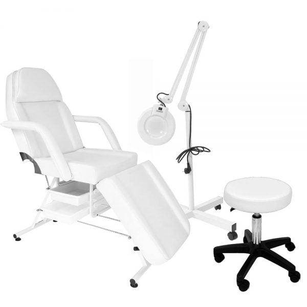 Fotel kosmetyczny z kuwetami + Taboret kosmetyczny