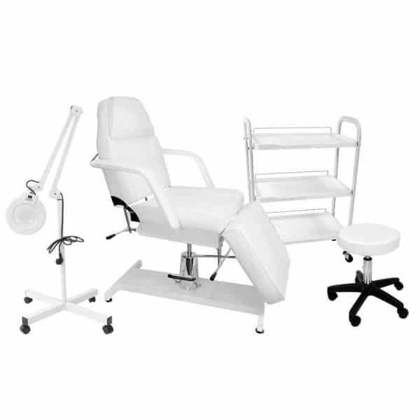 Fotel hydrauliczny + lampa lupa + taboret i stolik kosmetyczny - CLASSIC