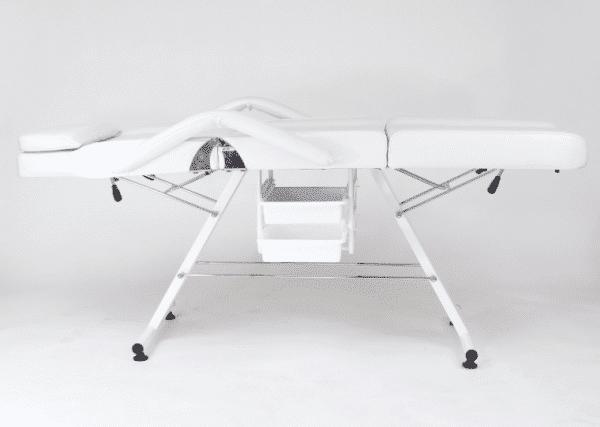 Fotel z kuwetami biały + stolik + lampa lupa - PAPILIO