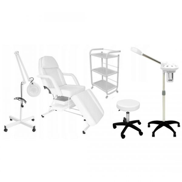 Fotel z kuwetami + stolik ORO + lampa lupa + taboret PAPILIO + Wapozon