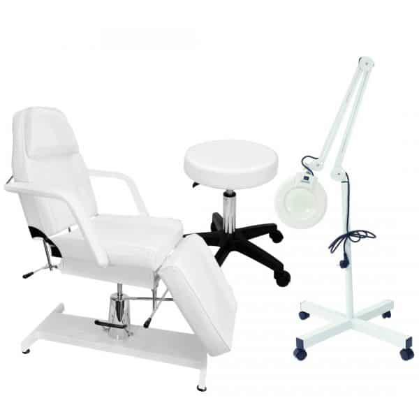 Fotel hydrauliczny + lampa lupa + taboret bez oparcia - BELLO