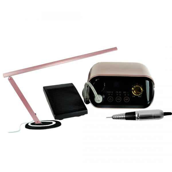 Zestaw do Manicure Frezarka LUX + Lampa SLIM Rose