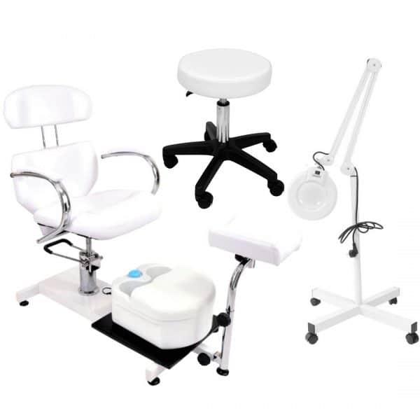 ZESTAW Fotel kosmetyczny hydrauliczny SPA + Masażer + Taboret + Lampa lupa
