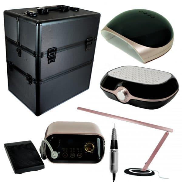 Zestaw kuferek + lampy + frezarka + pochłaniacz