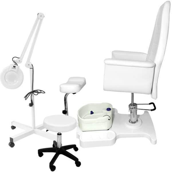 Fotel kosmetyczny SPA 3 z masażerem, lampą lupą oraz taboretem w zestawie