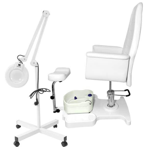 Fotel kosmetyczny SPA 3 z masażerem i lampą lupą w zestawie
